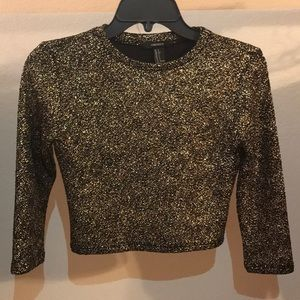 Forever21 slim fit Gold Glitter Crop top.